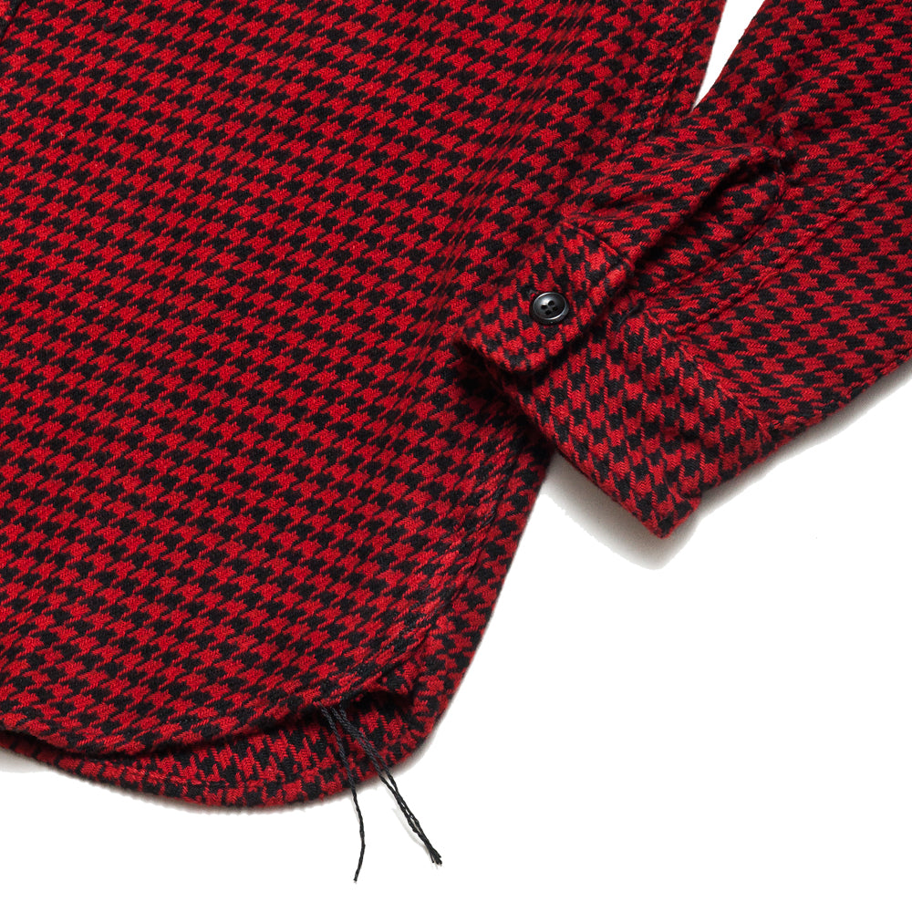The Real McCoy's Houndstooth Shirt Red/Black at shoplostfound, cuff