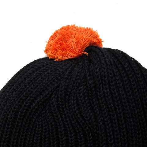 The Real McCoy's Joe McCoy Cotton Knit Bobble Cap Black AT SHOPLOSTFOUND, FRONT