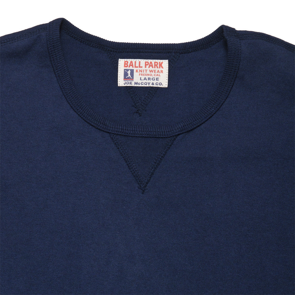 The Real McCoy's Joe McCoy Gusset Athletic Tee Navy at shoplostfound, neck