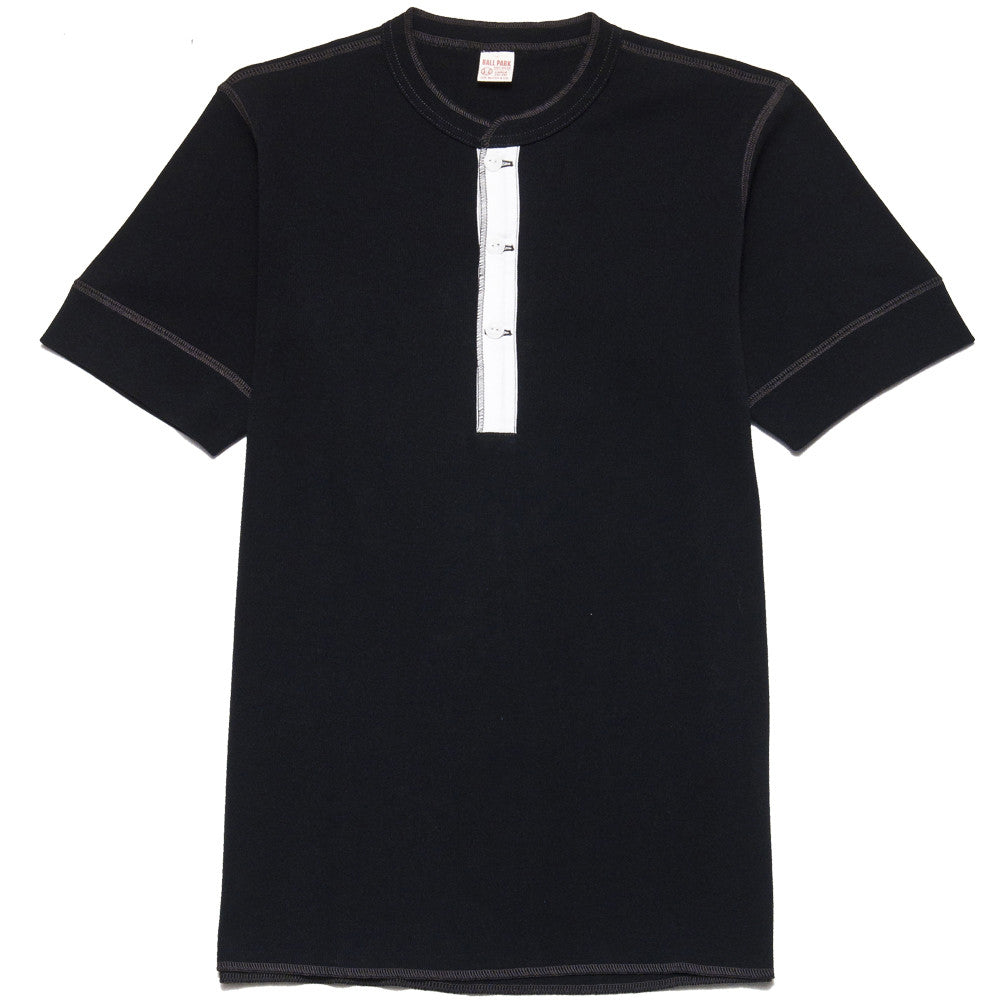 The Real McCoy's Joe McCoy MC13030 Short Sleeve Union Henley Shirt Black at shoplostfound, front