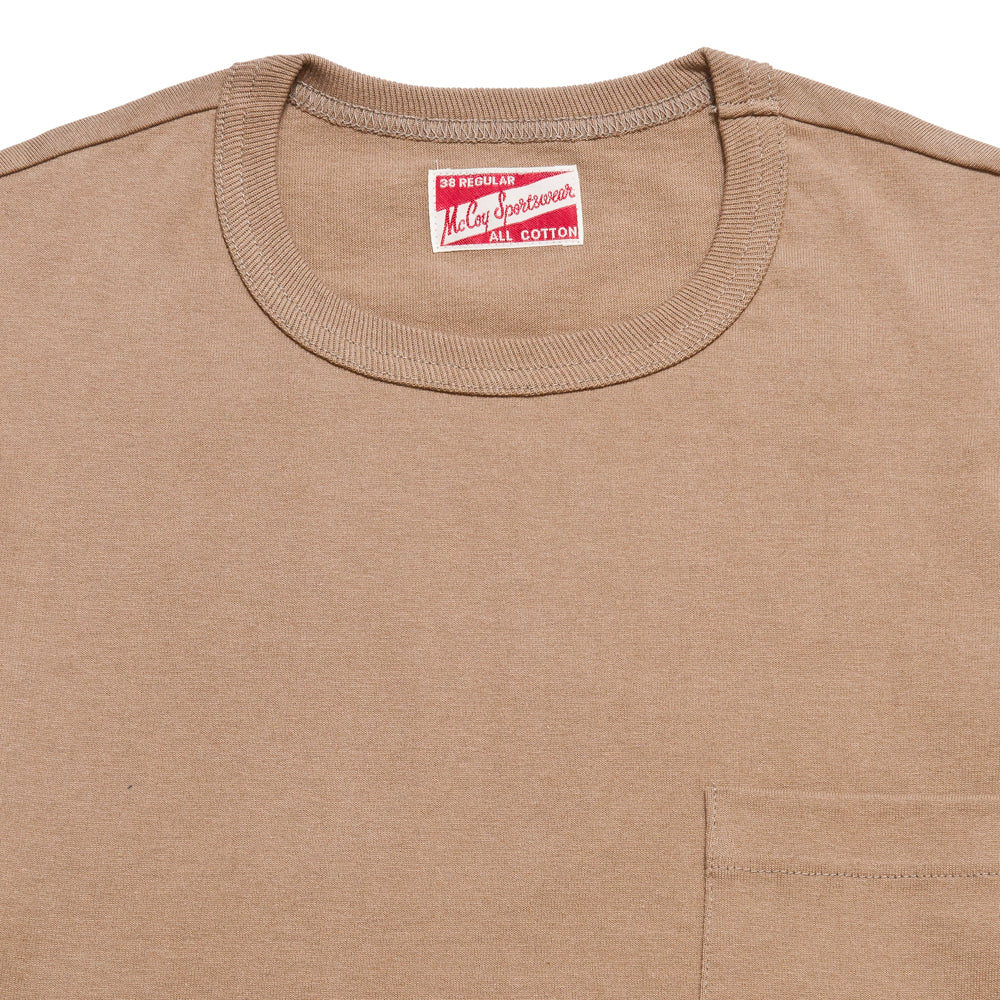 The Real McCoy's MC19012 Overdyed Sportswear Pocket Tee Chestnut at shoplostfound, neck