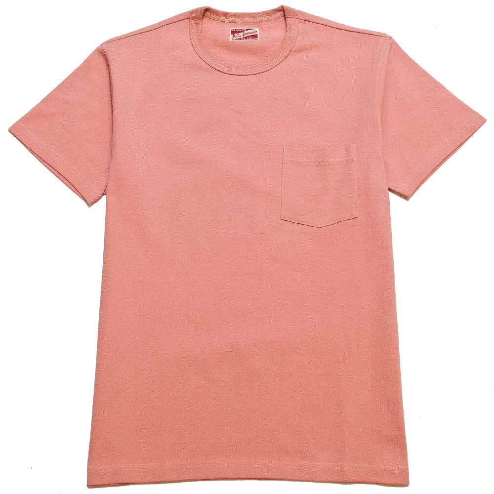 The Real McCoy's MC19012 Overdyed Sportswear Pocket Tee Coral at shoplostfound, front