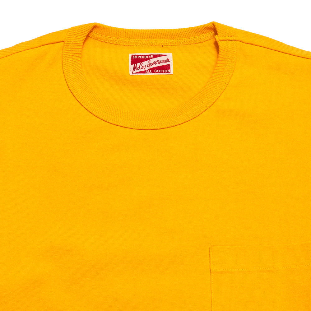 The Real McCoy's MC19012 Overdyed Sportswear Pocket Tee Yellow at shoplostfound, neck