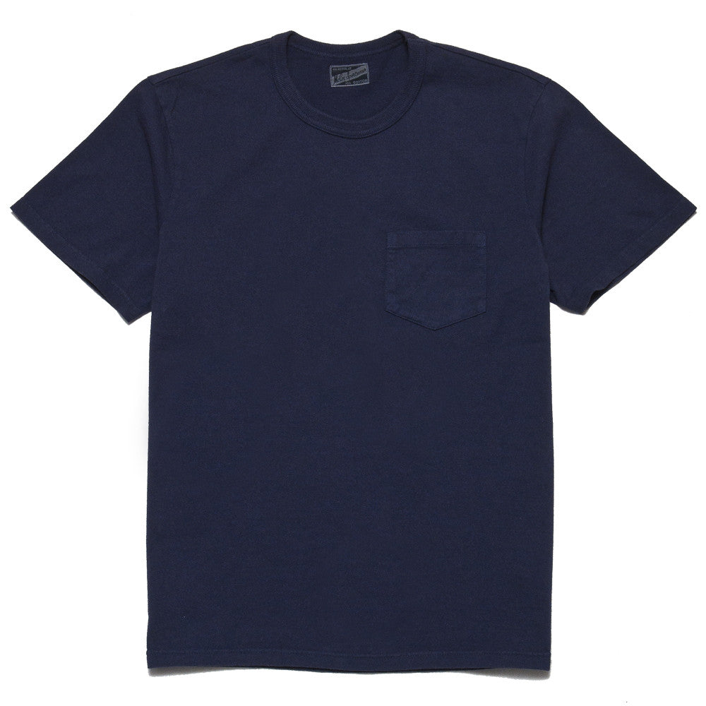 The Real McCoy's Joe McCoy Overdyed Sportswear Pocket Tee Navy at shoplostfound, front