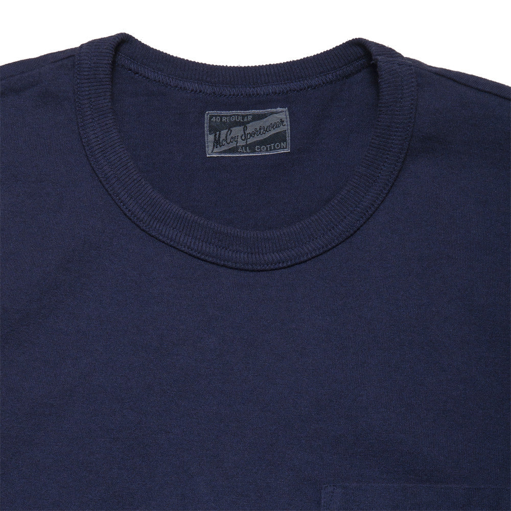 The Real McCoy's Joe McCoy Overdyed Sportswear Pocket Tee Navy at shoplostfound, neck
