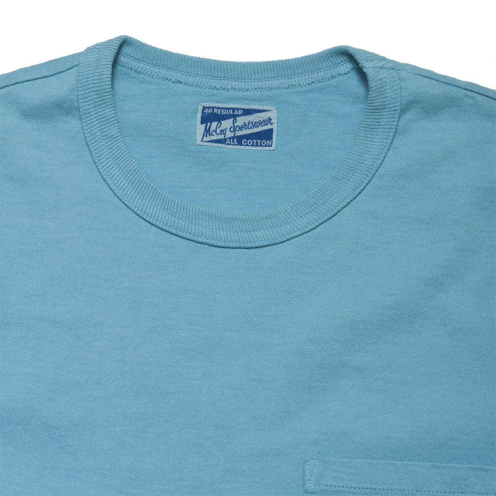 The Real McCoy's Joe McCoy Overdyed Sportswear Pocket Tee Saxe at shoplostfound, neck
