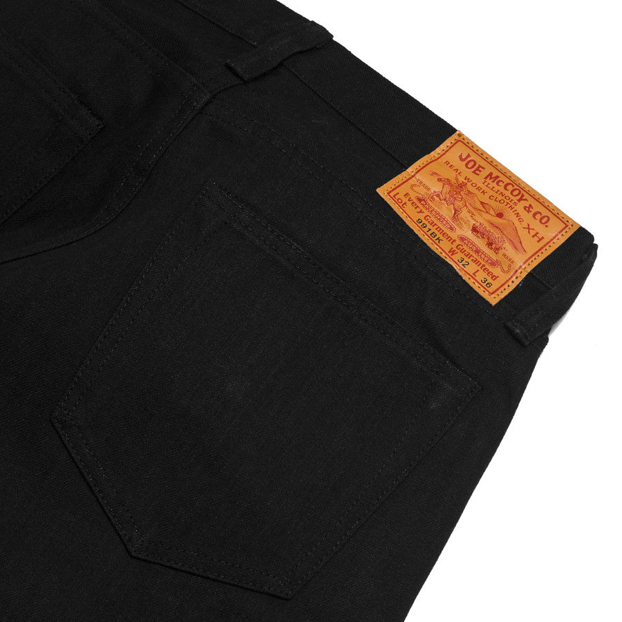The Real McCoy's Joe McCoy Lot.991BK Black Denim at shoplostfound in Toronto, leather patch