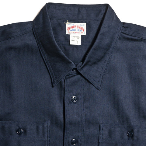 The Real McCoy's Joe McCoy MS14032 8 Hour Union Navy Herringbone Work Shirt Lot 536D at shoplostfound in Toronto, front