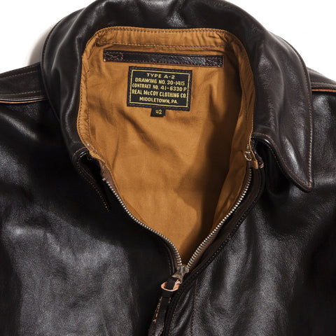 The Real McCoy's MJ12103 A-2 Flight Jacket Seal Brown at shoplostfound in Toronto, front