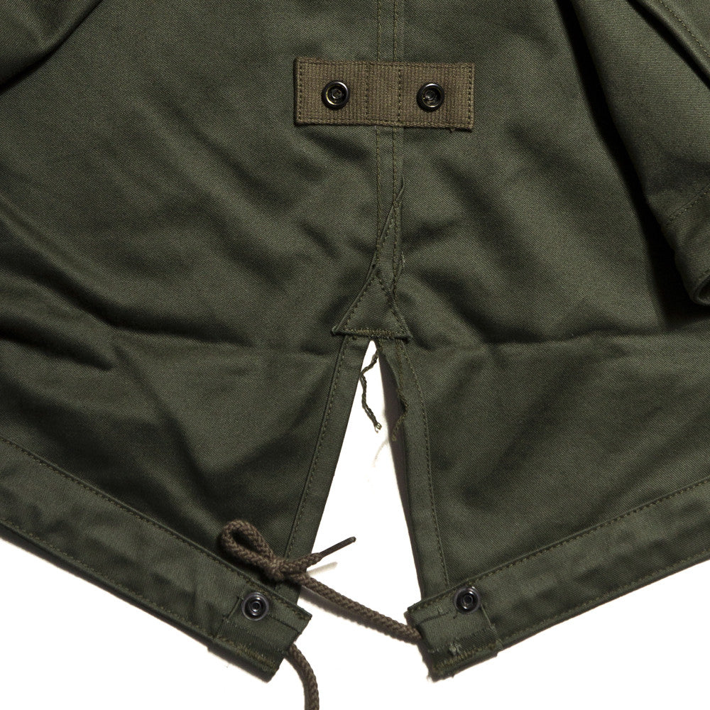 The Real McCoy's MJ13151 M-1951 Parka-Shell Olive Green at shoplostfound in Toronto, hem