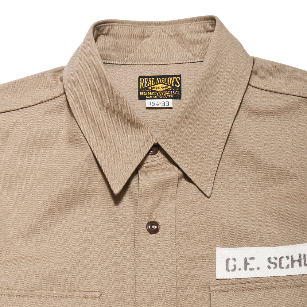 The Real McCoy's M-38 Parachute Shirt Khaki MS17104 at shoplostfound, neck