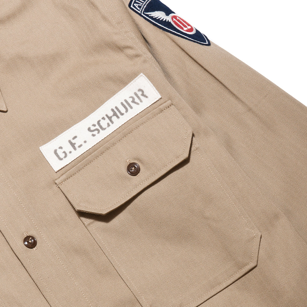 The Real McCoy's M-38 Parachute Shirt Khaki MS17104 at shoplostfound, chest