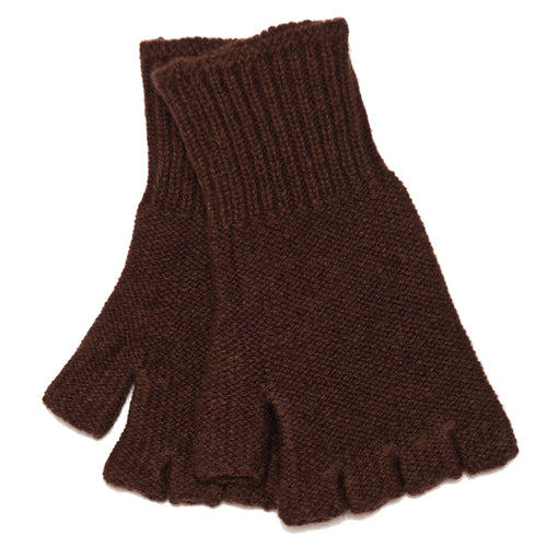 The Real McCoy's MA18105 Fingerless Knit Glove Brown at shoplostfound, front