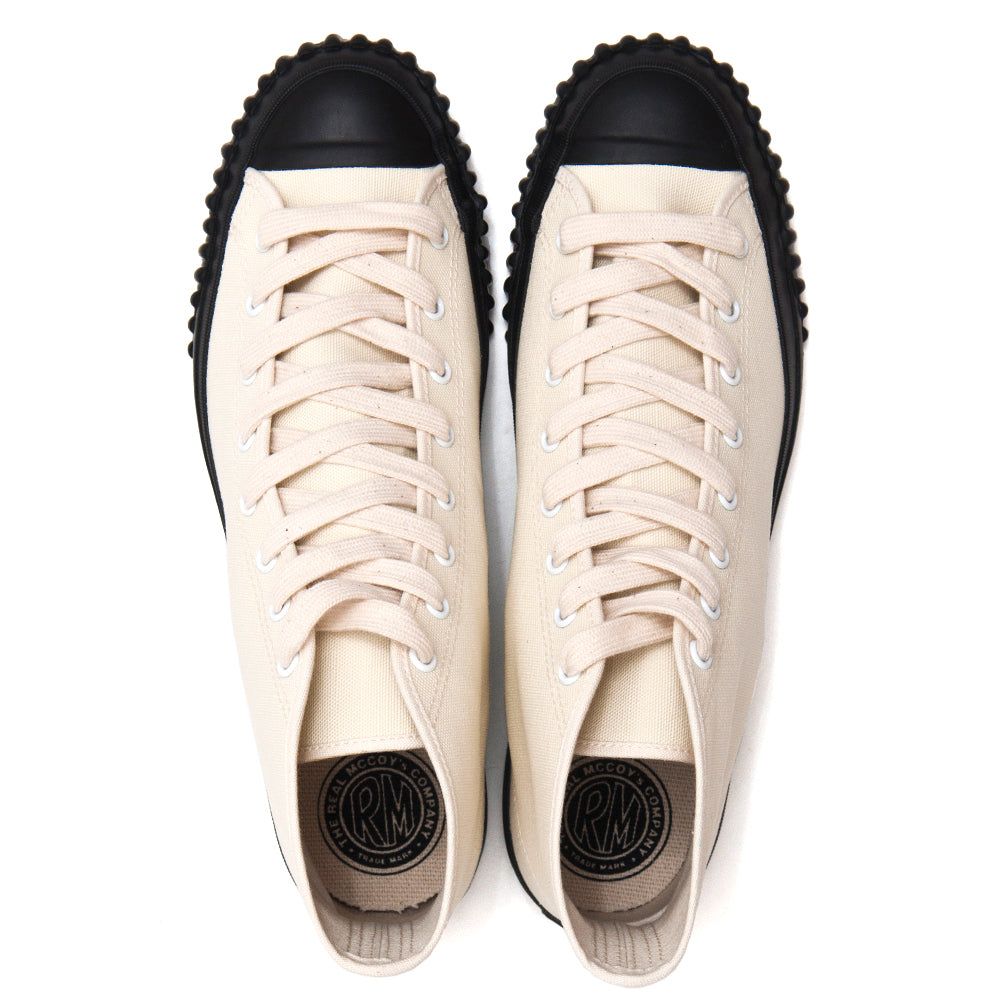 The Real McCoy's Military Canvas Training Shoes White MA17010 at shoplostfound, top