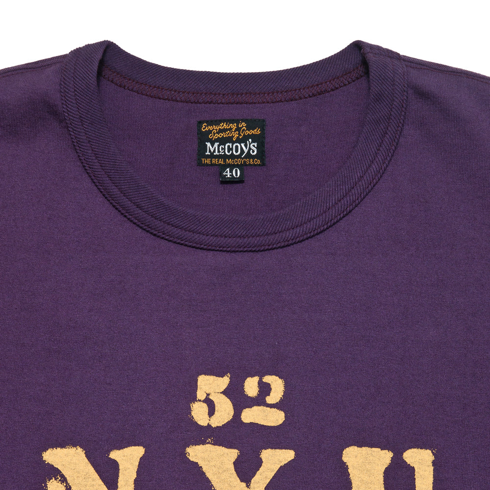 The Real McCoy's Military Tee NYU AA Purple at shoplostfound, neck