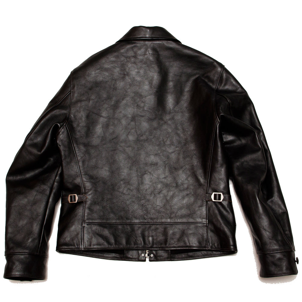 The Real McCoy's MJ19115 30's Leather Sports Jacket / Nelson Black at shoplostfound, back