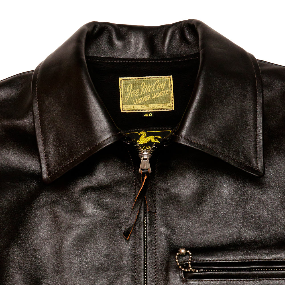 The Real McCoy's MJ19115 30's Leather Sports Jacket / Nelson Black at shoplostfound, neck