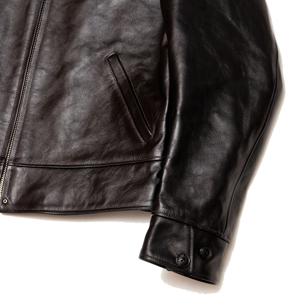 The Real McCoy's MJ19115 30's Leather Sports Jacket / Nelson Black at shoplostfound, cuff