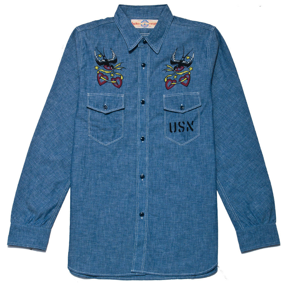 The Real McCoy's MS17002 U.S.N. Chambray Swallows Shirt at shoplostfound, front