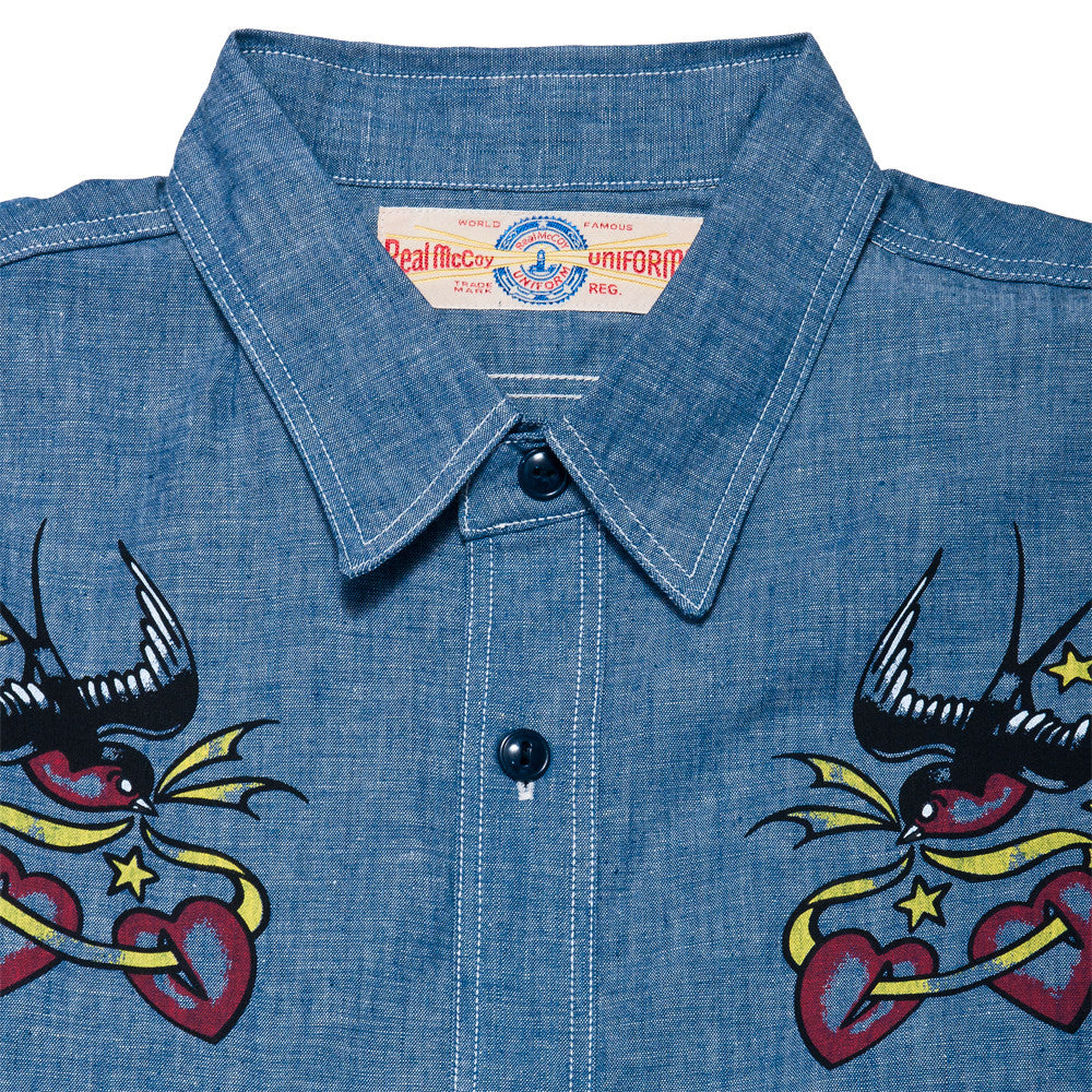 The Real McCoy's MS17002 U.S.N. Chambray Swallows Shirt at shoplostfound, neck