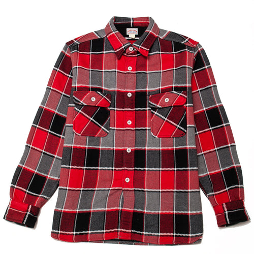 The Real McCoy's MS19105 8HU Napped Flannel Shirt / Tongass Plaid Red at shoplostfound, front