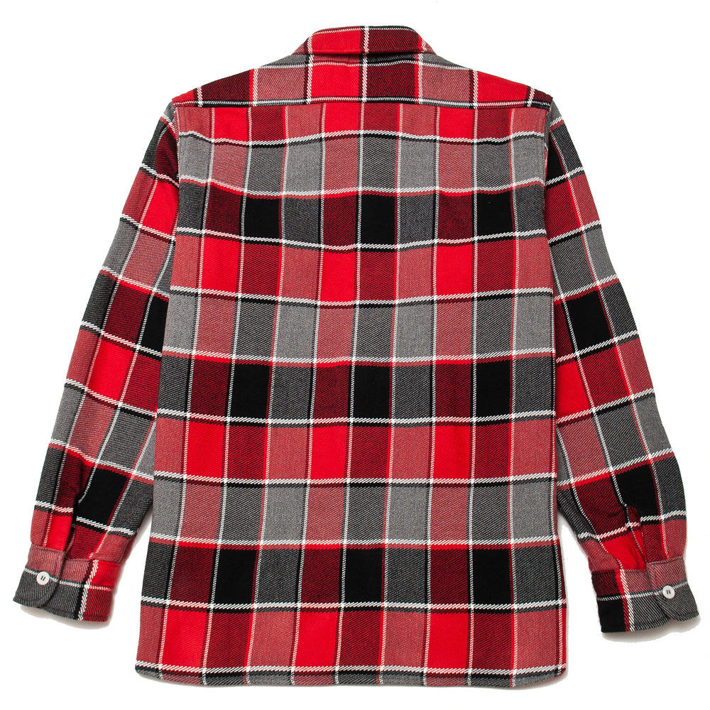 The Real McCoy's MS19105 8HU Napped Flannel Shirt / Tongass Plaid Red at shoplostfound, back