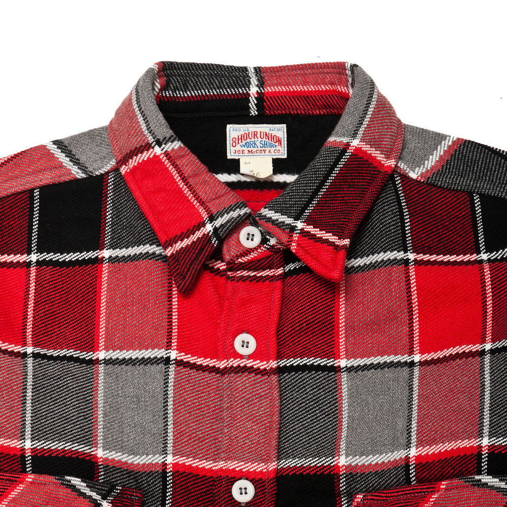 The Real McCoy's MS19105 8HU Napped Flannel Shirt / Tongass Plaid Red at shoplostfound, neck