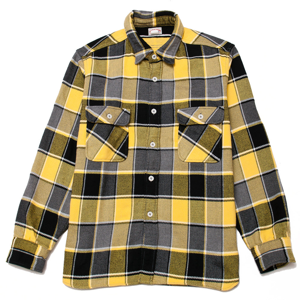 The Real McCoy's MS19105 8HU Napped Flannel Shirt / Tongass Plaid Yellow at shoplostfound, front