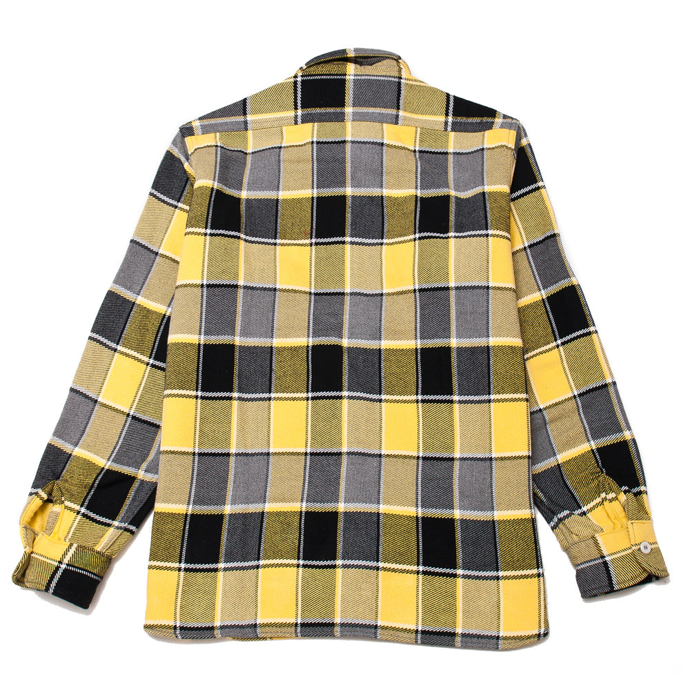 The Real McCoy's MS19105 8HU Napped Flannel Shirt / Tongass Plaid Yellow at shoplostfound, back