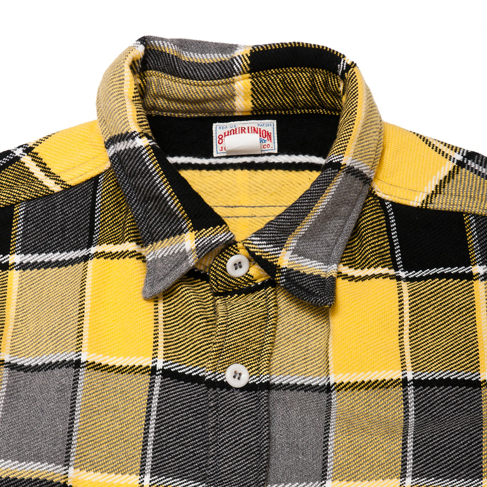 The Real McCoy's MS19105 8HU Napped Flannel Shirt / Tongass Plaid Yellow at shoplostfound, neck
