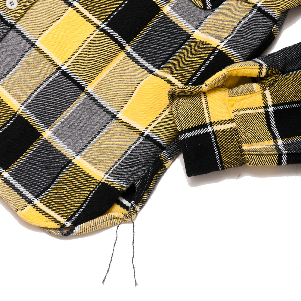 The Real McCoy's MS19105 8HU Napped Flannel Shirt / Tongass Plaid Yellow at shoplostfound, cuff