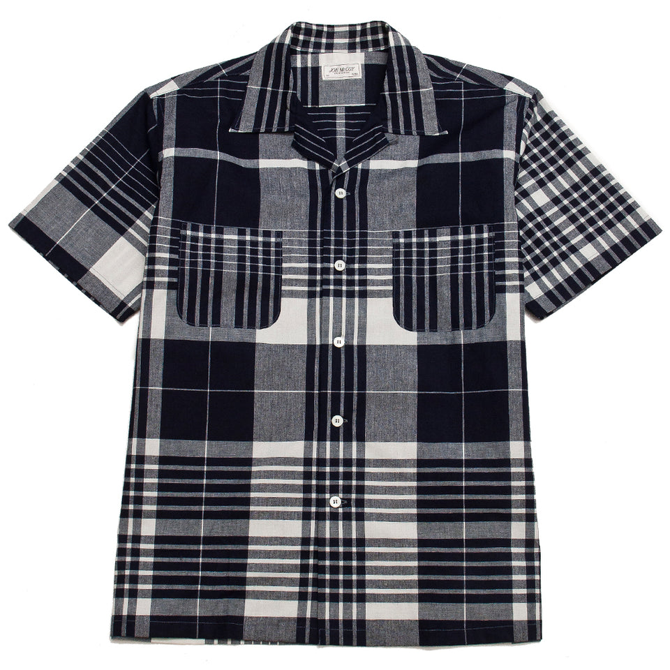 The Real McCoy's Open Collar Shirt Indigo Check at shoplostfound, front
