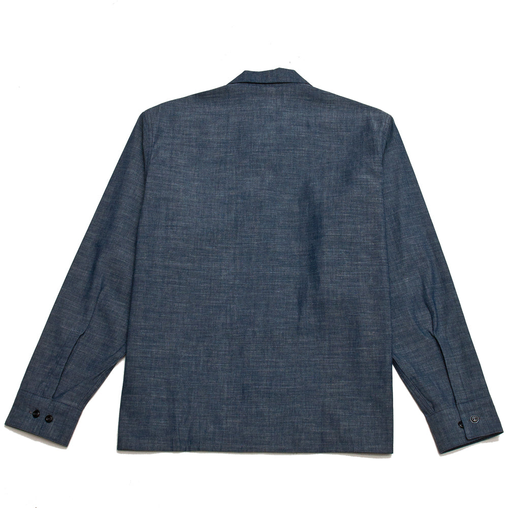 The Real McCoy's Prisoner Open Collar Shirt Indigo at shoplostfound, back