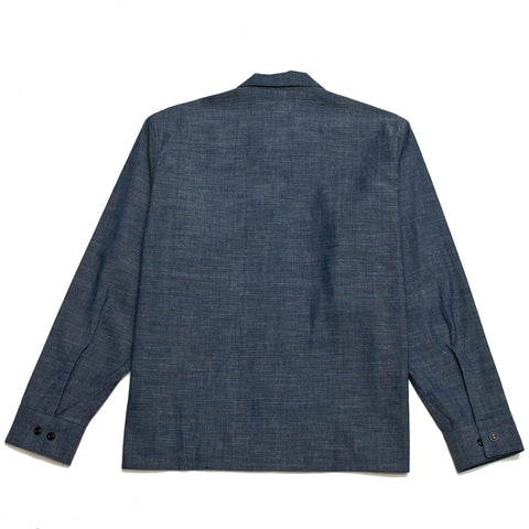 The Real McCoy's Prisoner Open Collar Shirt Indigo at shoplostfound, front