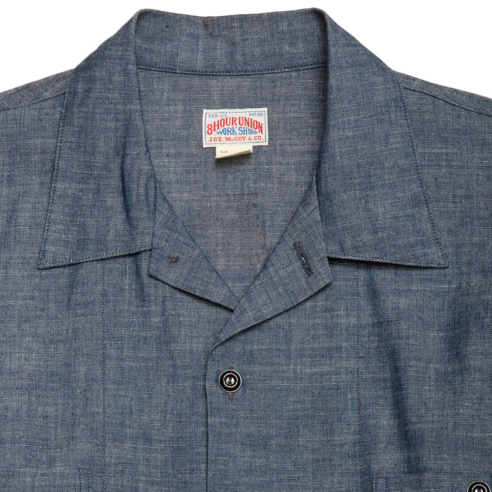 The Real McCoy's Prisoner Open Collar Shirt Indigo at shoplostfound, neck