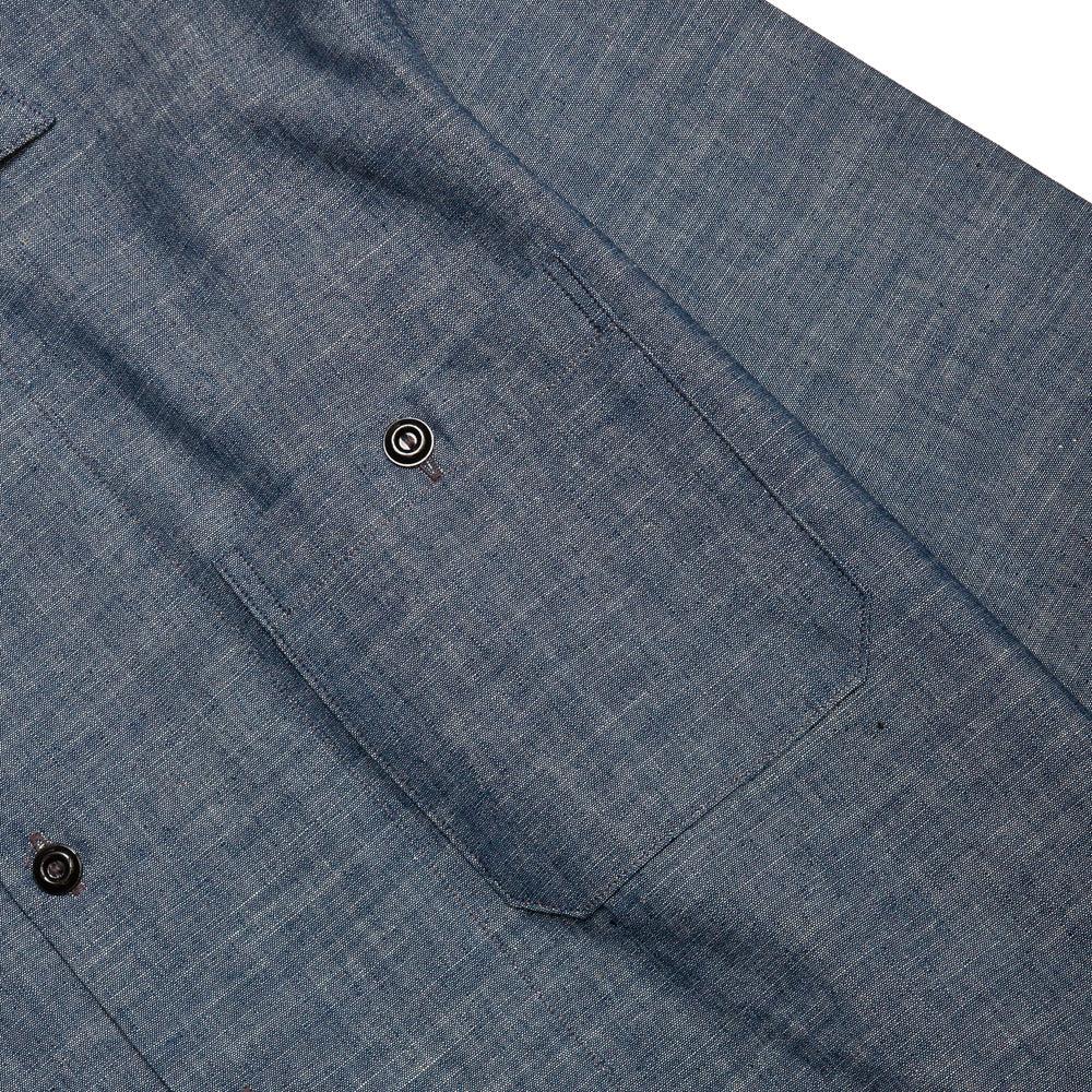 The Real McCoy's Prisoner Open Collar Shirt Indigo at shoplostfound, pocket