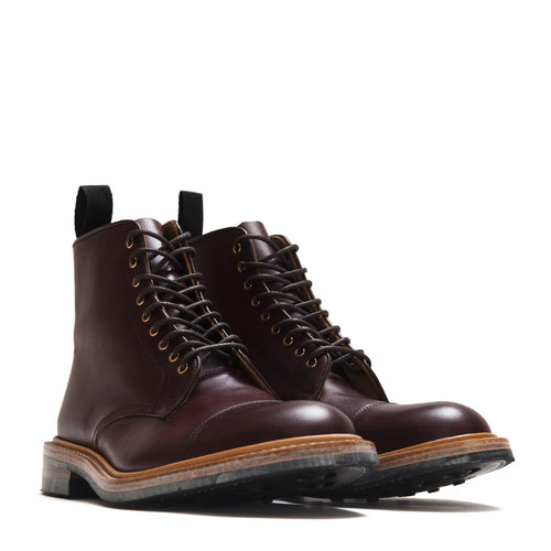 Tricker's * lost & found Burgundy Burnished Toe Cap Boot M7770 at shoplostfound in Toronto, product shot