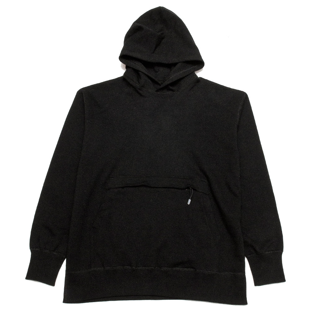 uniforme inc. Heavyweight Hoodie Black at shoplostfound, front