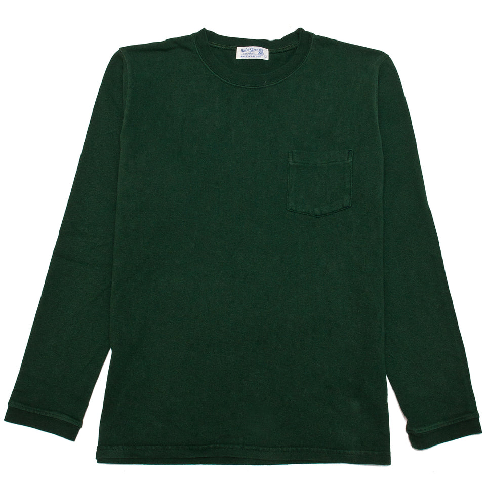 Velva Sheen Heavy oz Pigment Long Sleeve Pocket Tee Green at shoplostfound, front