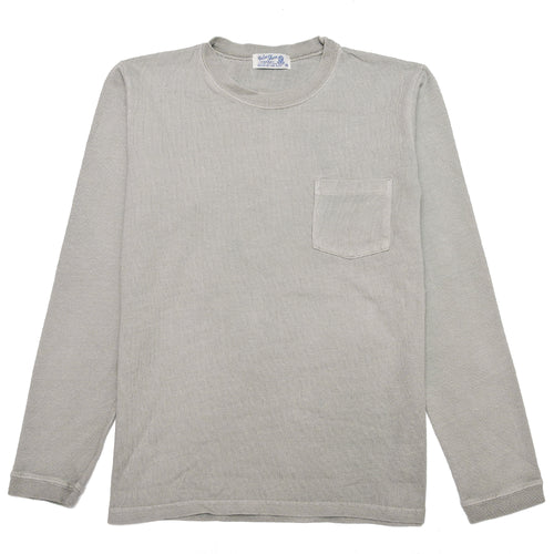 Velva Sheen Heavy oz Pigment Long Sleeve Pocket Tee Grey at shoplostfound, front