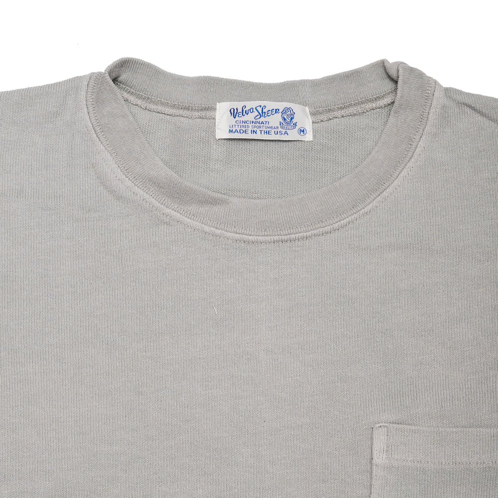 Velva Sheen Heavy oz Pigment Long Sleeve Pocket Tee Grey at shoplostfound, neck