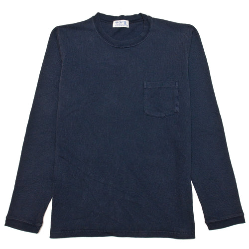 Velva Sheen Heavy oz Pigment Long Sleeve Pocket Tee Navy at shoplostfound, front
