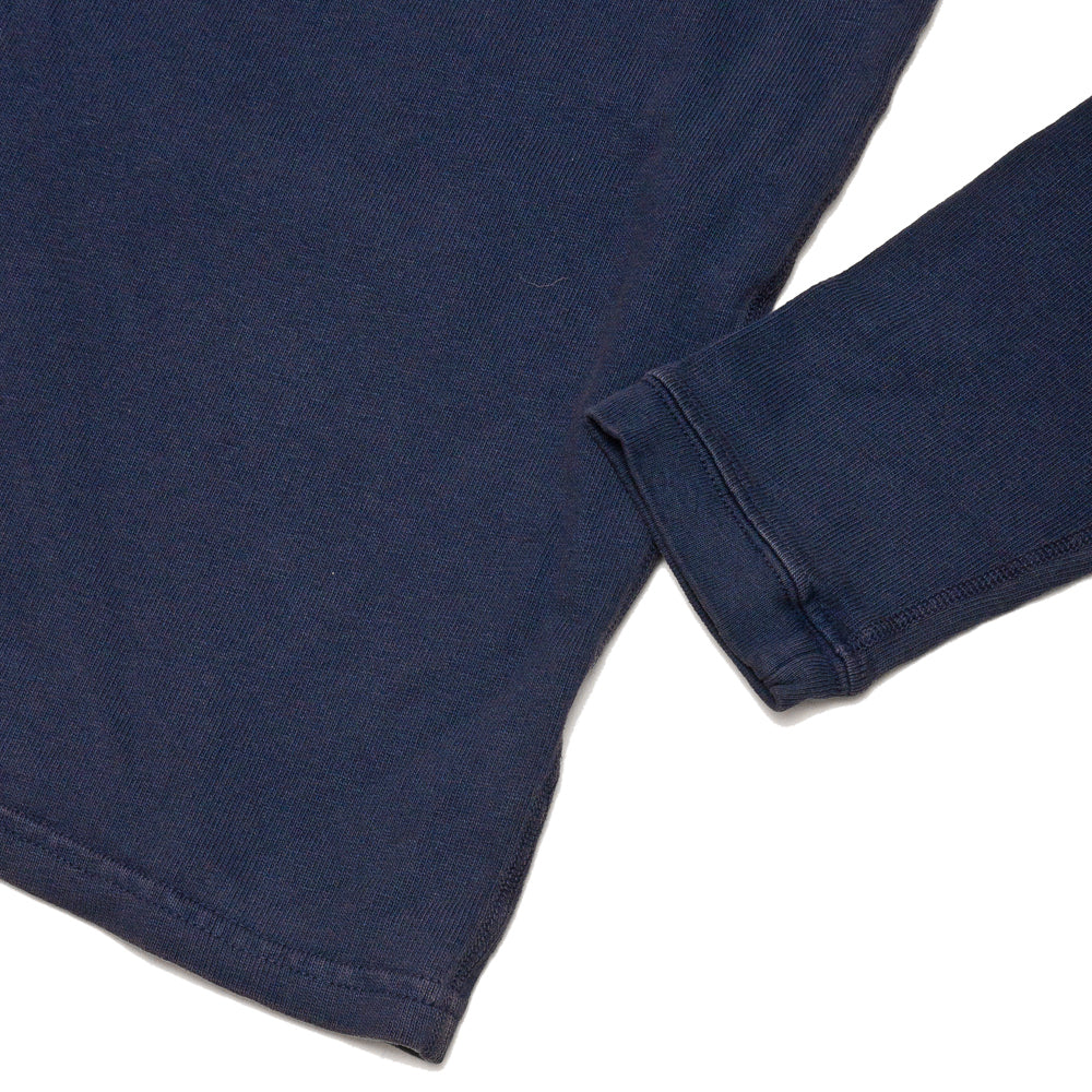 Velva Sheen Heavy oz Pigment Long Sleeve Pocket Tee Navy at shoplostfound, cuff