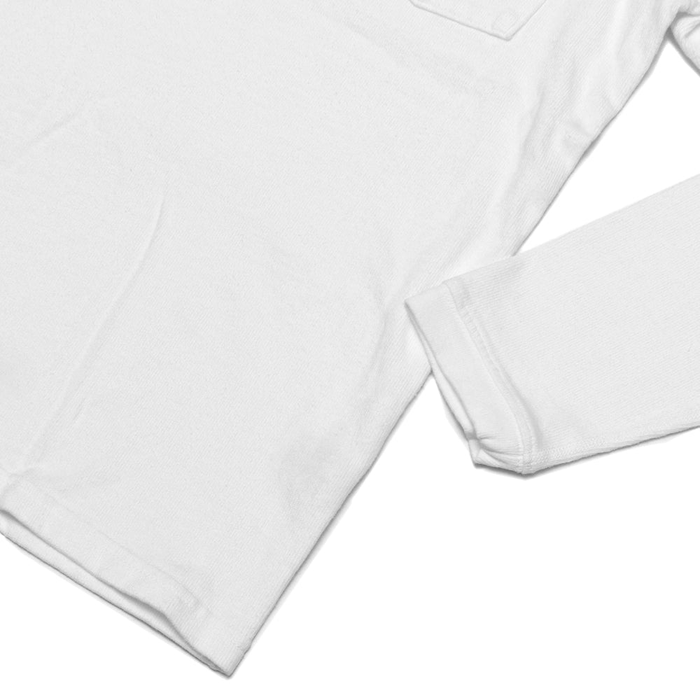 Velva Sheen Heavy oz Pigment Long Sleeve Pocket Tee White at shoplostfound, cuff