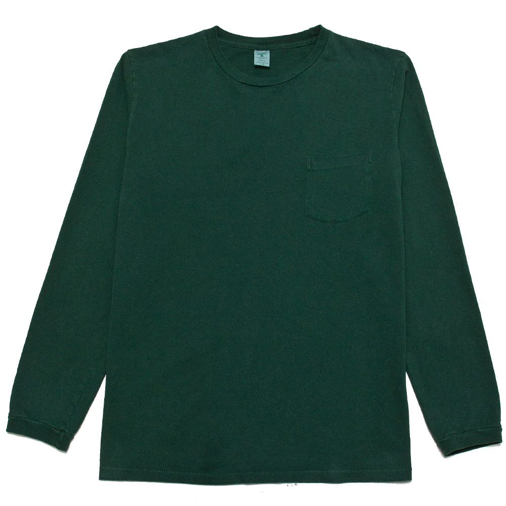 Velva Sheen Pigment Dyed Long Sleeve Pocket T-Shirt Green at shoplostfound, front