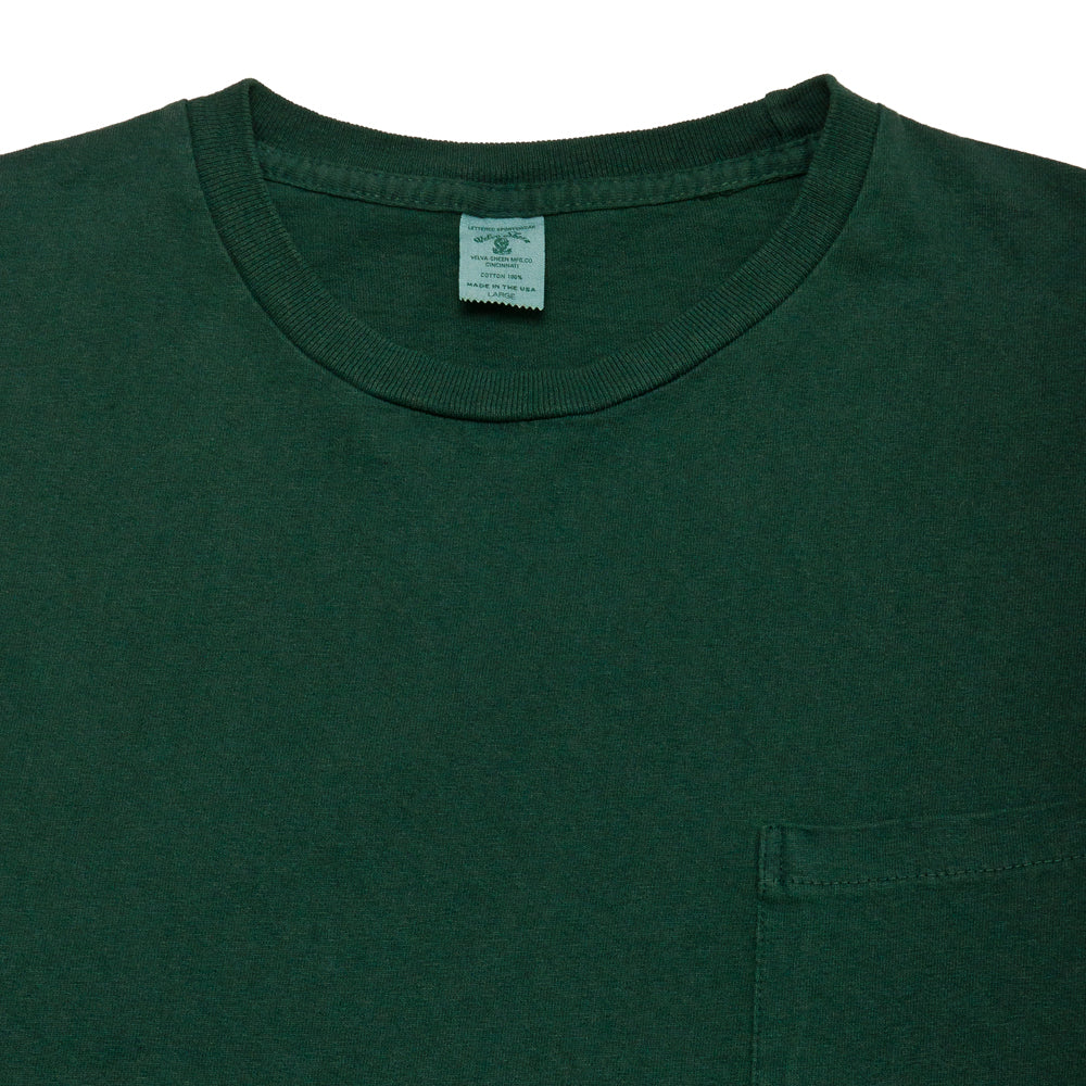 Velva Sheen Pigment Dyed Long Sleeve Pocket T-Shirt Green at shoplostfound, neck