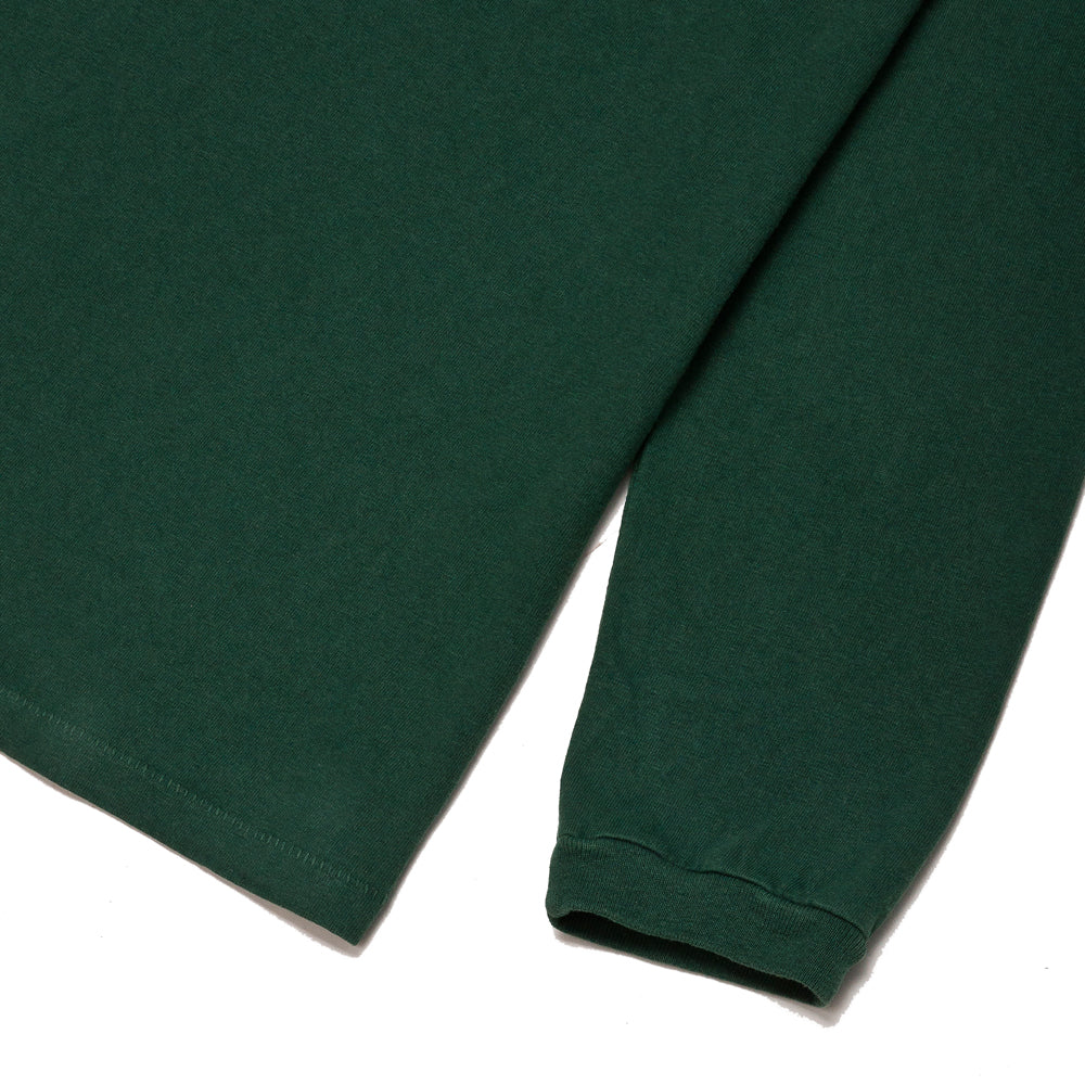 Velva Sheen Pigment Dyed Long Sleeve Pocket T-Shirt Green at shoplostfound, cuff