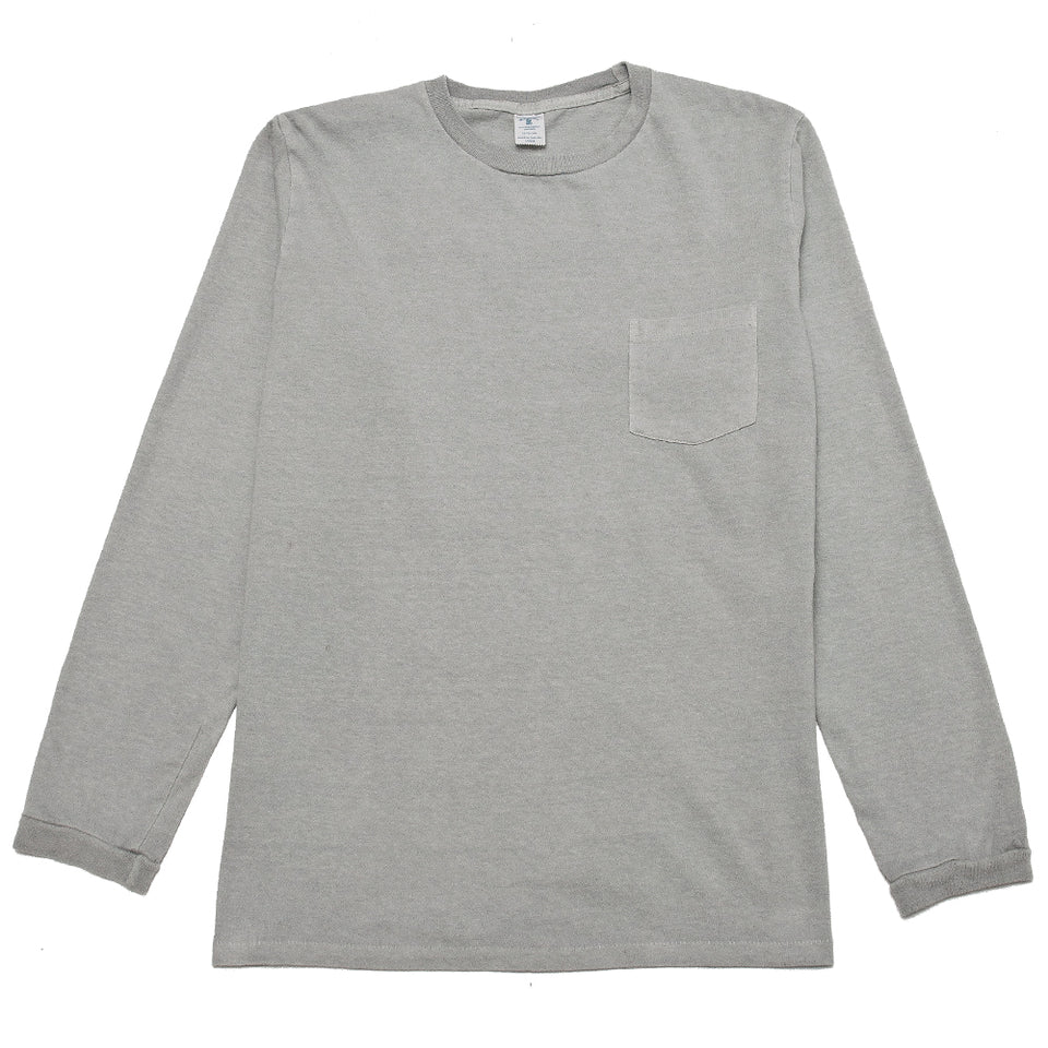 Velva Sheen Pigment Dyed Long Sleeve Pocket T-Shirt Grey at shoplostfound, front