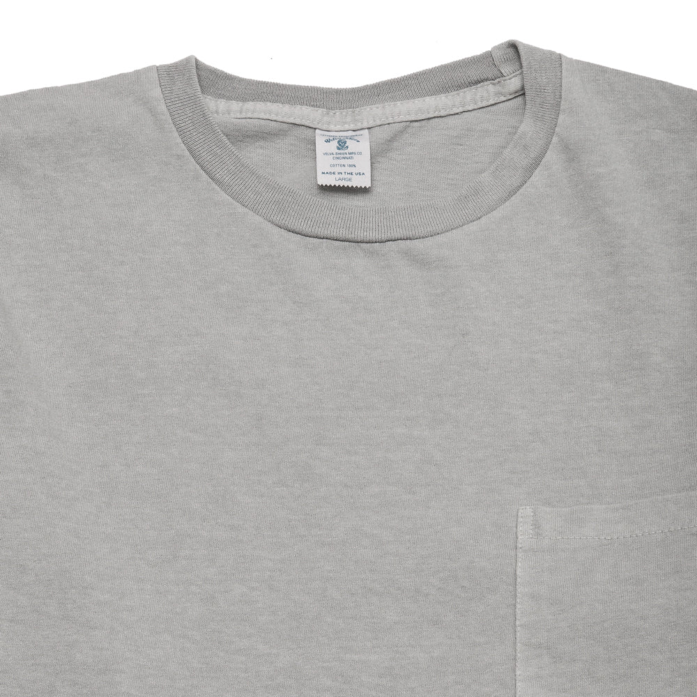 Velva Sheen Pigment Dyed Long Sleeve Pocket T-Shirt Grey at shoplostfound, neck