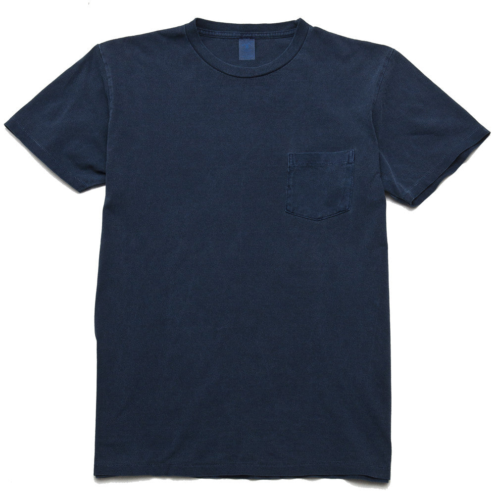 Velva Sheen Pigment Dyed Pocket T-Shirt Navy at shoplostfound, front
